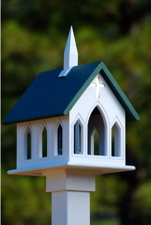 Church bird feeder with tube