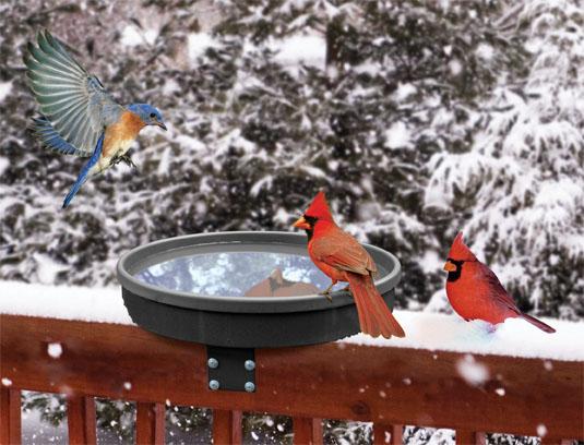 Deck mount heated birdbath in use