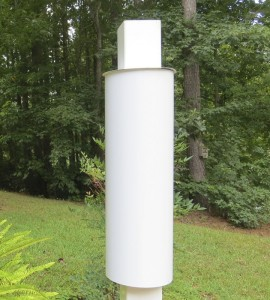 white-squirrel-baffle-for-vinyl dovecotes and feeders