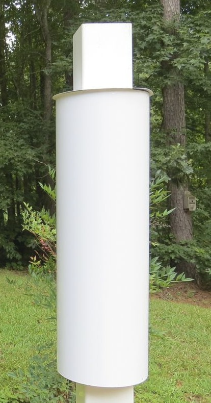 white squirrel baffle for copper PVC bird feeders