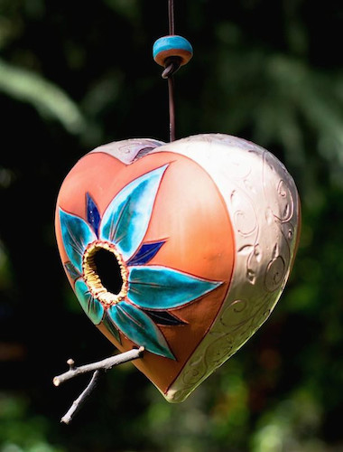 hanging heart unique birdhouse