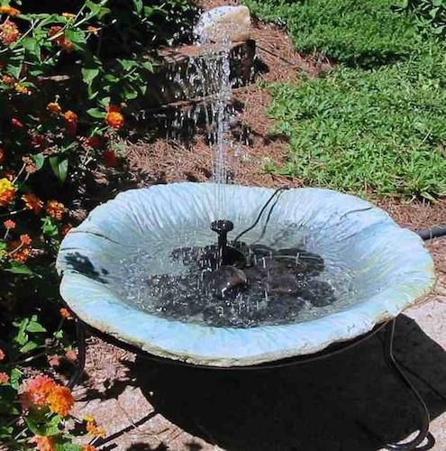 solar fountain for a birdbath