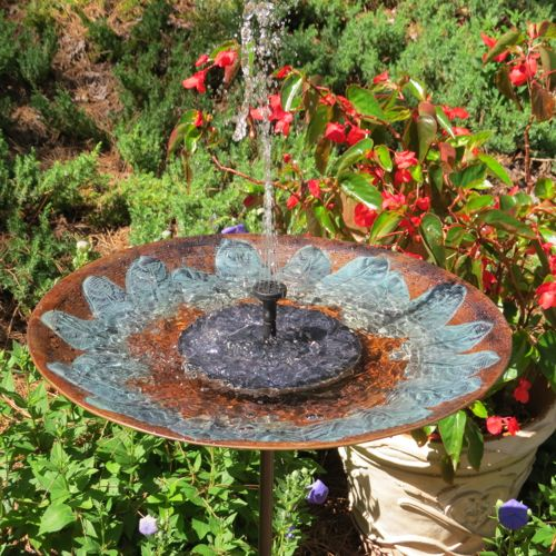 solar bird bath on tall stake