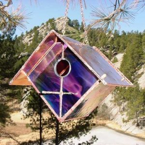 Black Cherry Stained Glass Bird Feeder