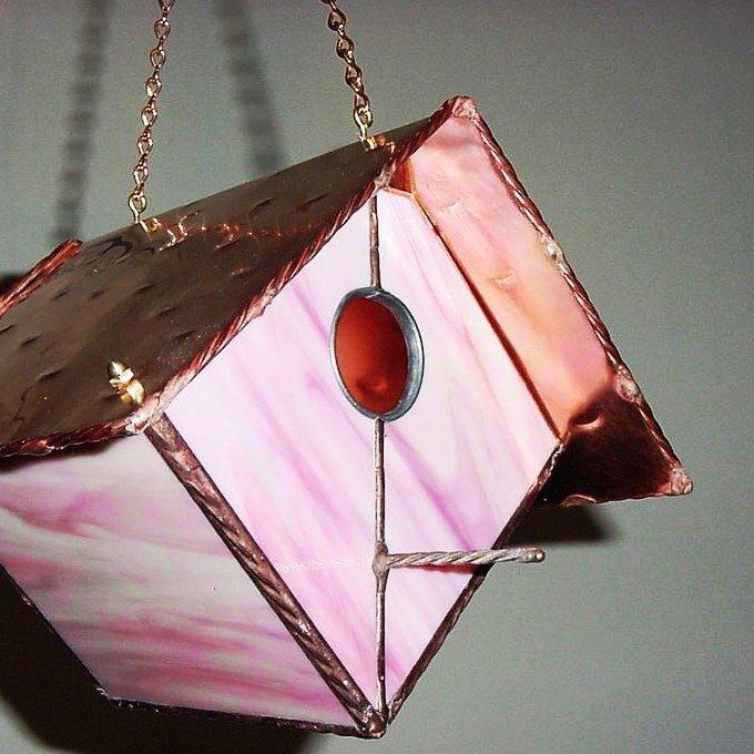Pink stained glass bird feeder