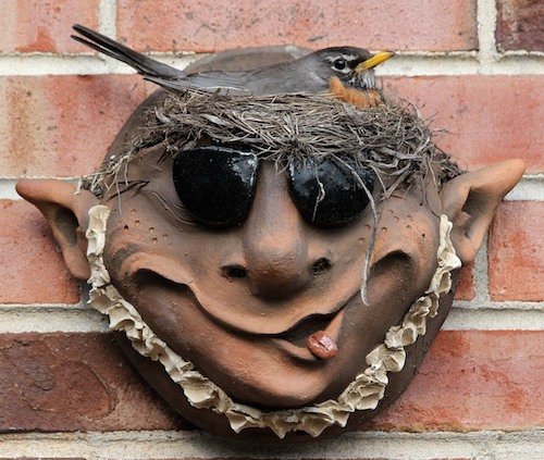 Troll Planter with Robin's Nest