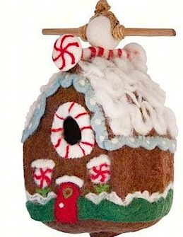felted wool gingerbread birdhouse