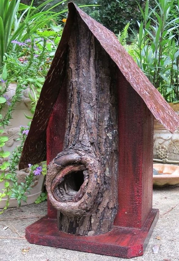 rustic log front birdhouse