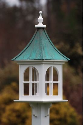 Unique Bird Feeders with aged copper roof
