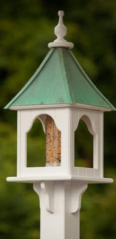 Copper Roof Bird Feeder is vinyl that looks like wood