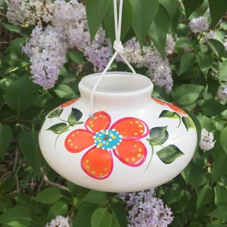 ceramic humming bird feeder