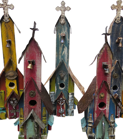 Recycled and Reclaimed Wood Church Birdhouses