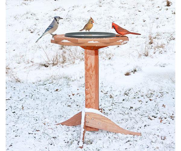 Tall Heated Bird Bath in Snow